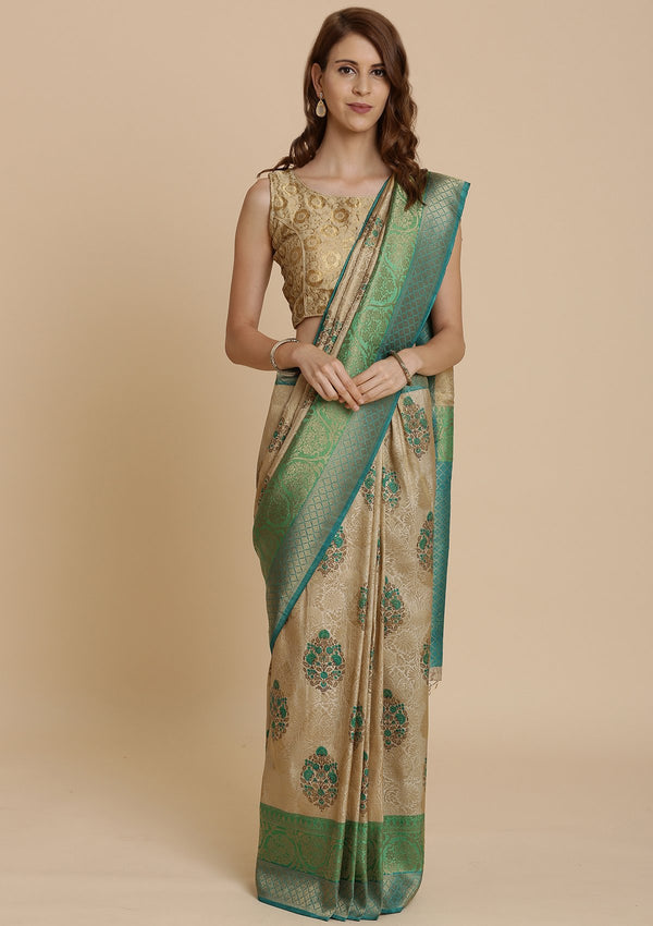 Green and Cream Art Silk Designer Saree