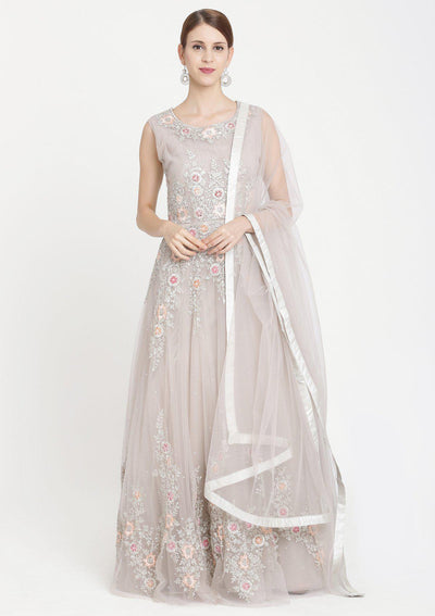 Light Grey Zariwork Net Designer Gown-Koskii