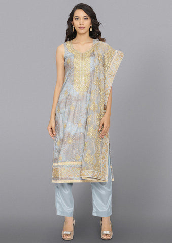Light Grey Zariwork Cotton Designer Salwar Suit-Koskii