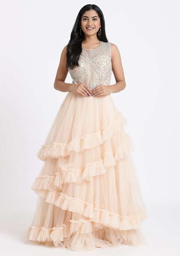 Peach Stone Work Net Designer Gown