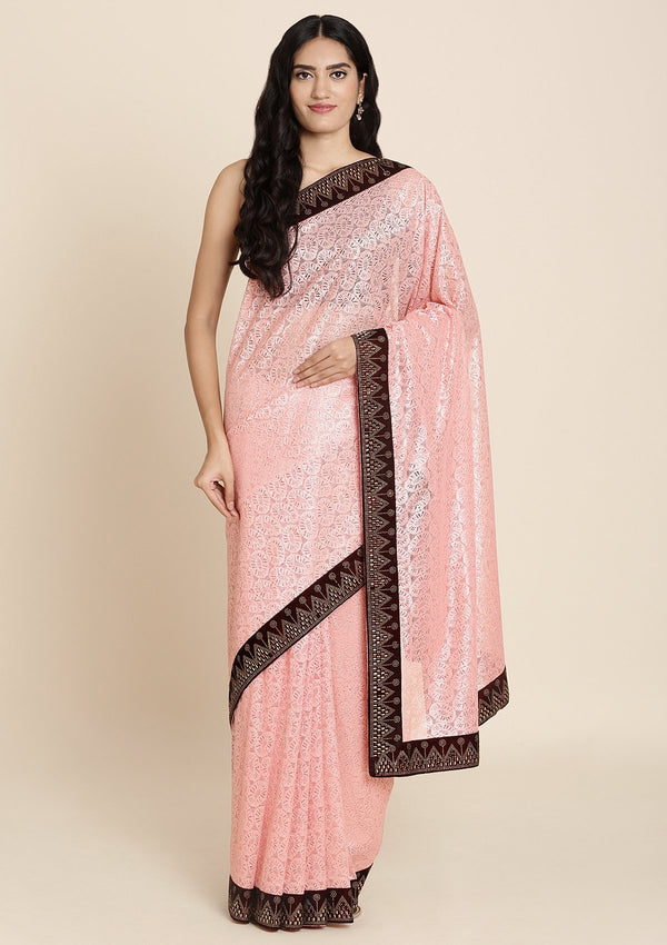 Pink And Maroon Swarovski Net Designer Saree