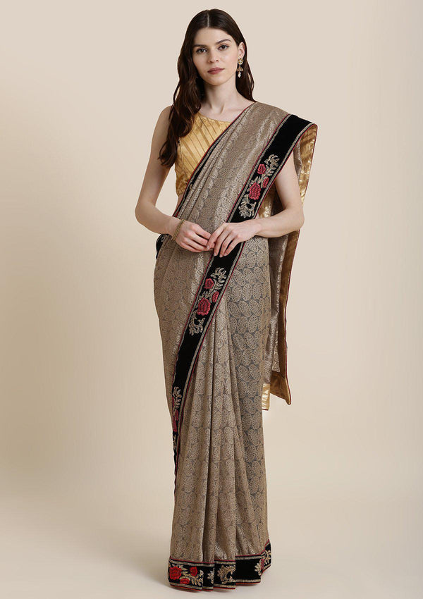 Light Brown Zariwork Net Designer Saree-Koskii