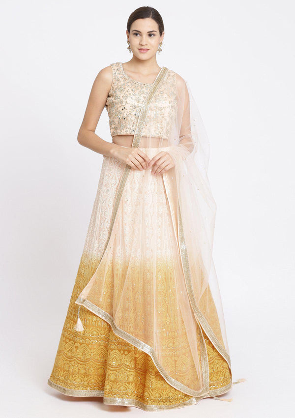 Chrome Yellow and Peach Mirrorwork Georgette Designer Lehenga-Koskii