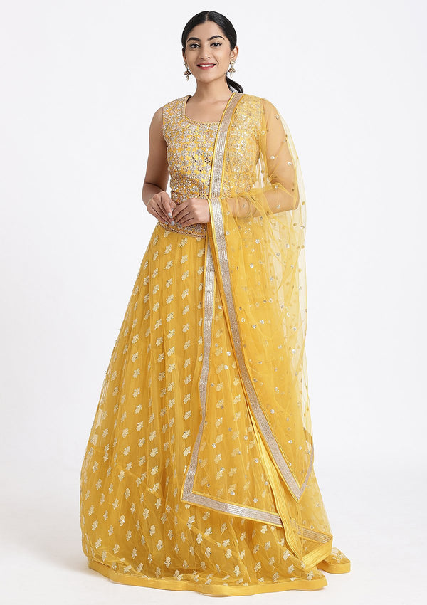 Yellow Gota Patti Net Designer Lehenga