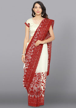 Cream Threadwork Net Designer Saree