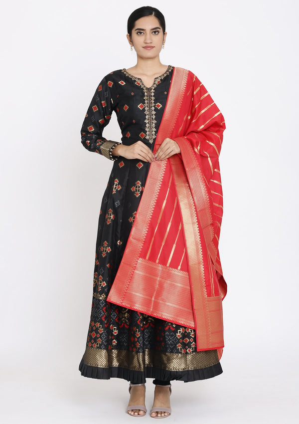 Black Zariwork Art Silk Designer Gown