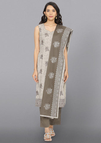 Light Grey Threadwork Cotton Designer Salwar Suit
