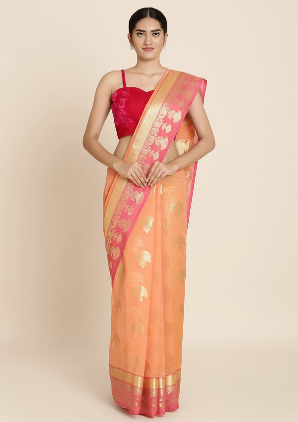 Peach And Pink Zariwork Brocade Designer Saree