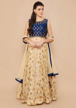 Gold and Blue Mirror-work Designer Lehenga