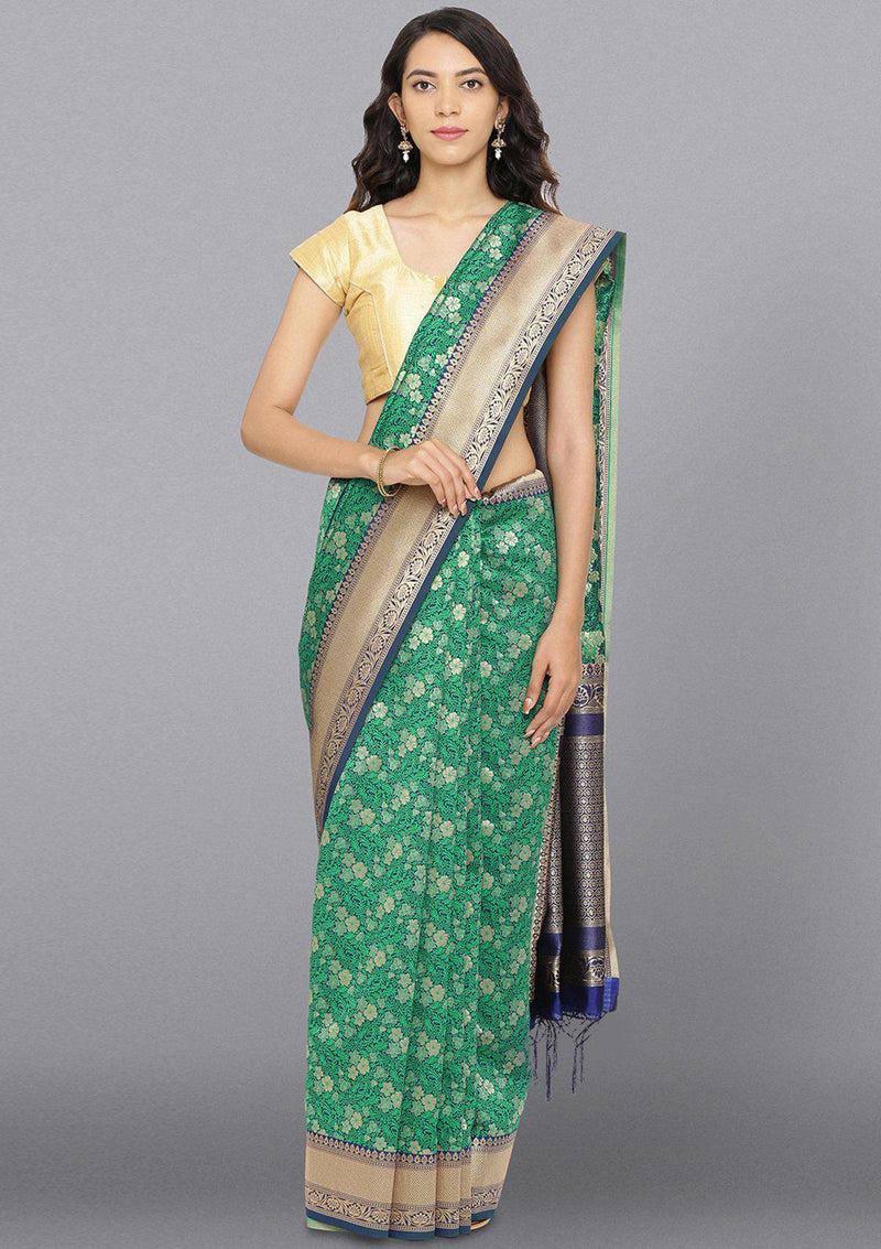 Leaf Green Zariwork Brocade Designer Saree