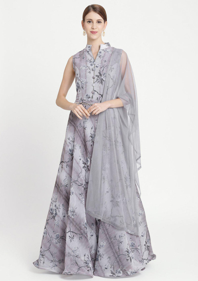 Light Grey Print Georgette Designer Gown