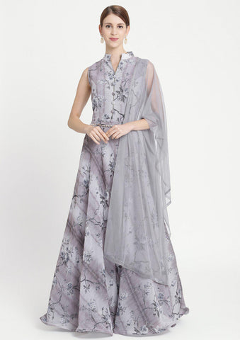 Light Grey Print Georgette Designer Gown-Koskii