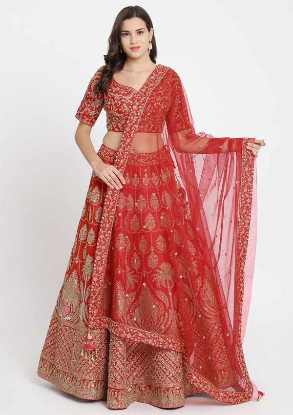 Red Sequins Raw Silk Designer Lehenga-Koskii