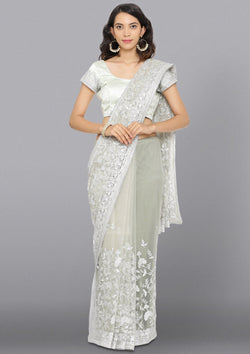 Light Grey Threadwork Net Designer Saree