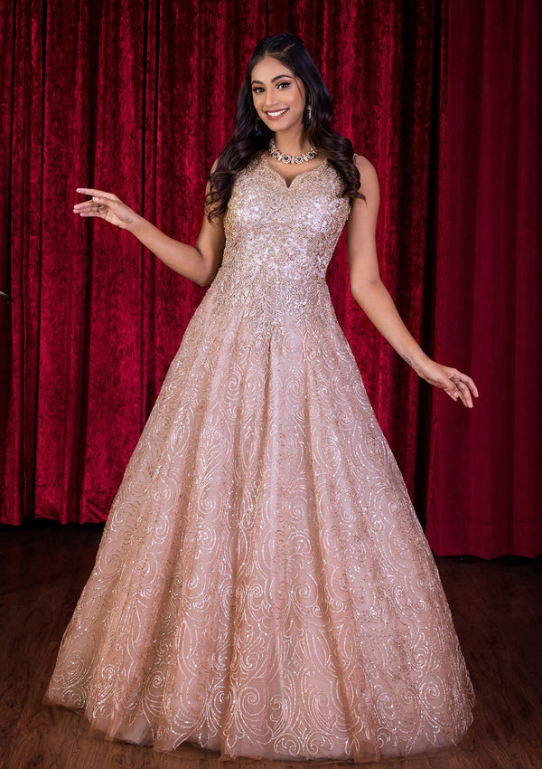 Gold Sequinned Net Designer Gown-Koskii