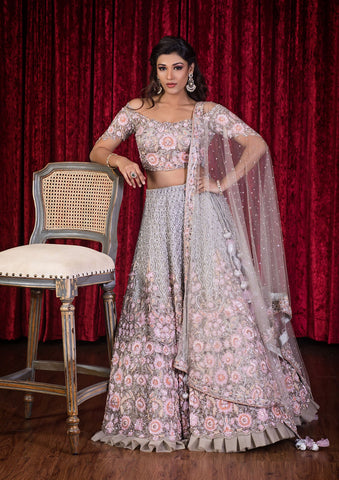 Rose Pink Sequinned Net Designer Lehenga