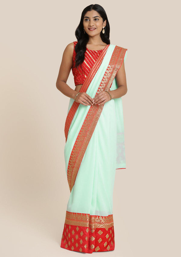 Sky Blue Zariwork Art Silk Designer Saree