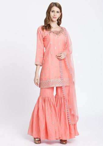 Pink Cutdana Cotton Designer Sharara