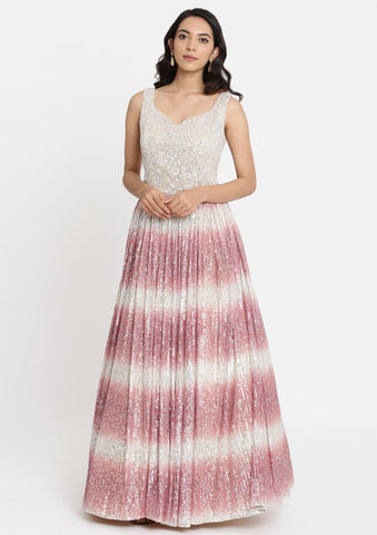 Onion Pink Sequins Net Designer Gown-Koskii