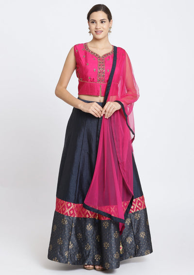 Navy Blue and Fuschia Cutdana Rawsilk Designer Lehenga-Koskii