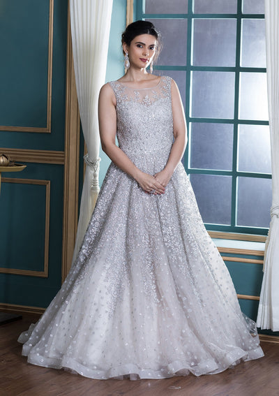 White Zardozi Work Net Ball Gown-Koskii