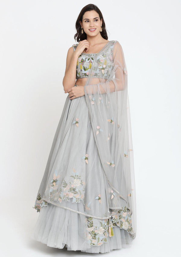 Grey Thread Work Raw Silk Designer Lehenga
