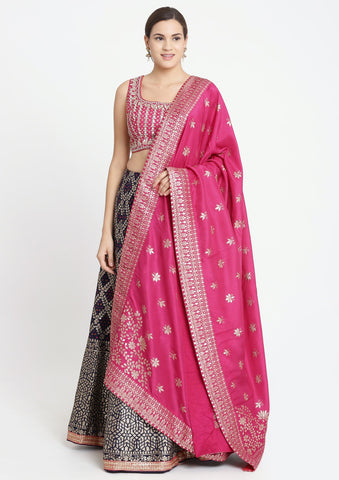 Navy Blue and Fuschia Gotapatti Brocade Designer Lehenga