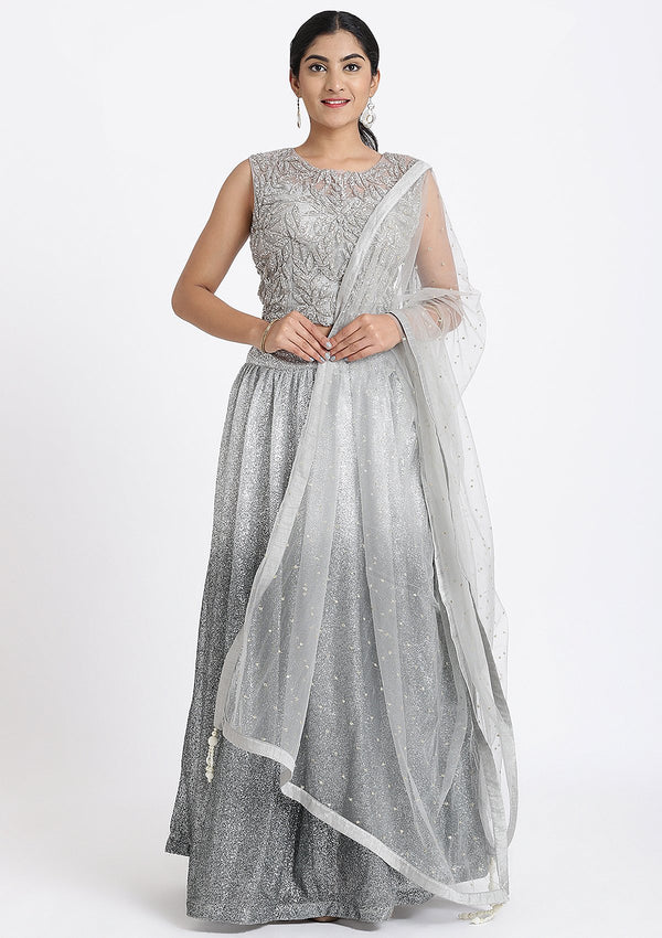 Light Grey Stone Work Net Designer Lehenga
