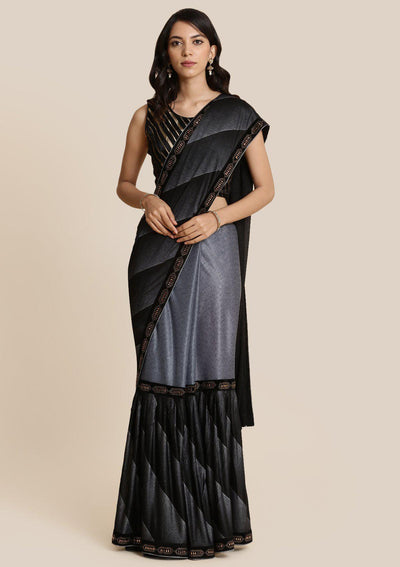 Light Grey Swarovski Lycra Designer Saree-Koskii