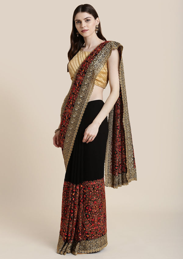 Black Threadwork Georgette Designer Saree
