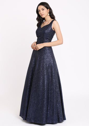Navy Blue Sequins Imported Fabric Designer Gown