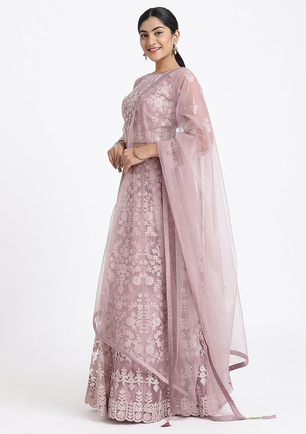 Mauve Threadwork Net Designer Lehenga