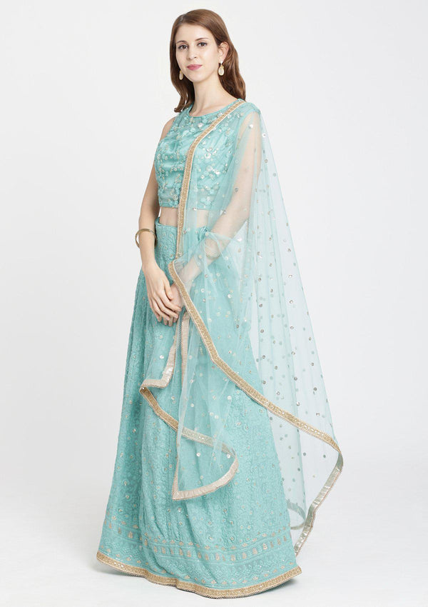 Sea Green Threadwork Chiffon Designer Lehenga