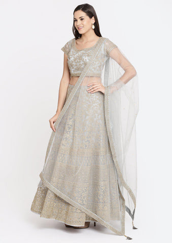Light Grey Zariwork Net Designer Lehenga