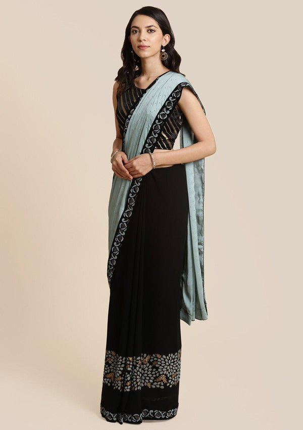 Black and Sea Green Swarovski Georgette Designer Saree