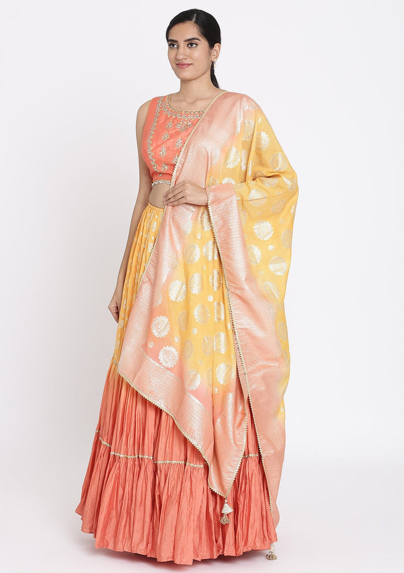 Mustard And Peach Gotapatti Art Silk Designer Lehenga