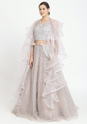 Light Grey Sequins Net Designer Lehenga-Koskii