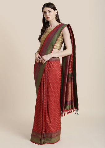 Red Zariwork Brocade Designer Saree