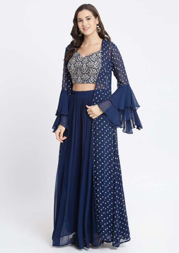 Dodger Blue Zariwork Georgette Designer Crop Top Set