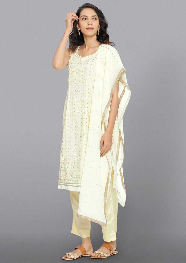 Cream Threadwork Georgette Designer Salwar Suit-Koskii