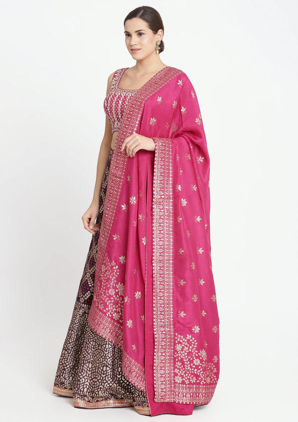 Wine and Fuschia Gotapatti Brocade Designer Lehenga-Koskii