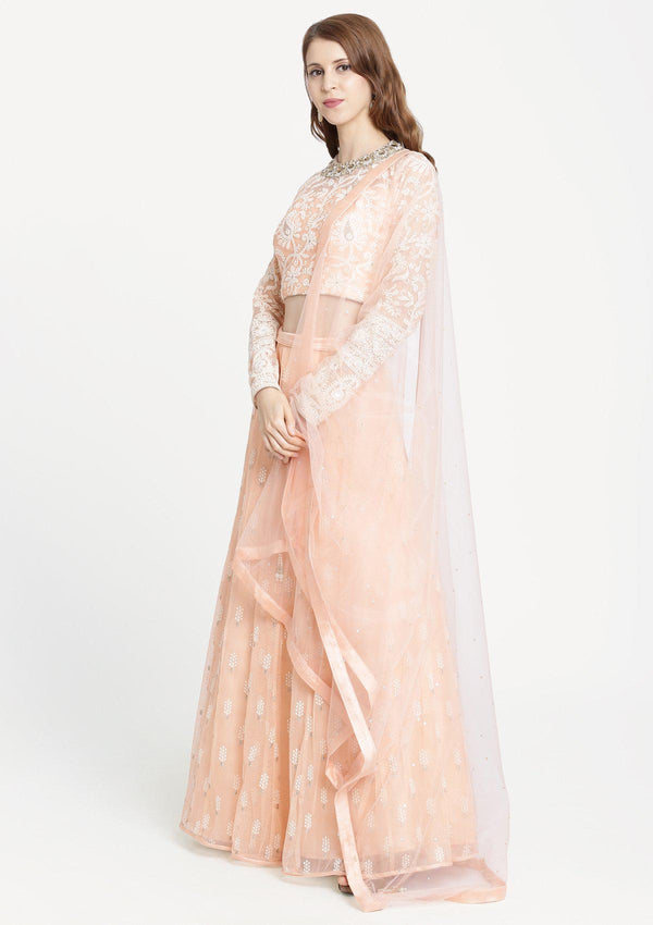 Peach Threadwork Net Designer Lehenga-Koskii