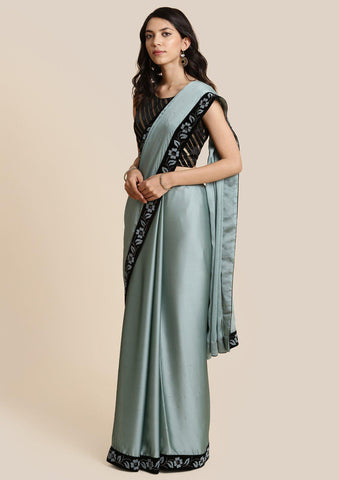 Sea Green Swarovski Georgette Designer Saree-Koskii