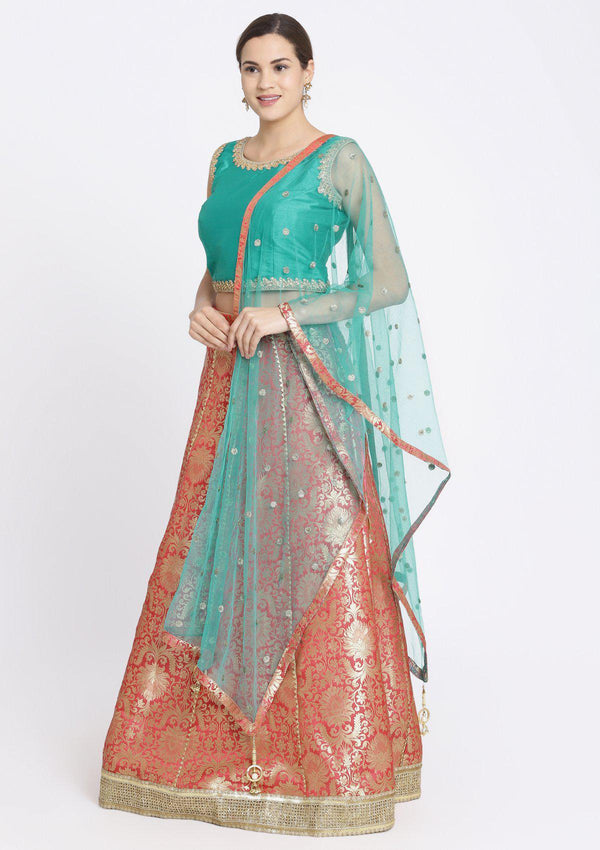 Fuschia and Blue Green Zariwork Brocade Designer Lehenga