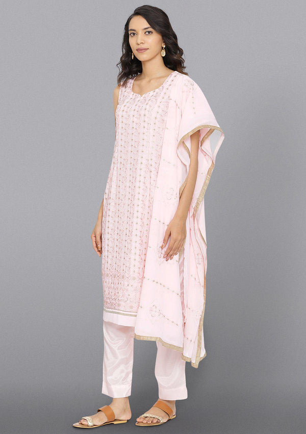 Baby Pink Threadwork Georgette Designer Salwar Suit