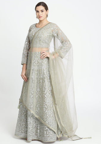 Light Olive Green Zariwork Net Designer Lehenga