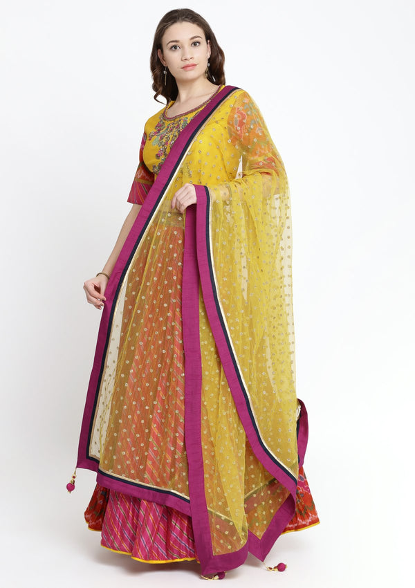 Fuschia and Yellow Zardosi Rawsilk Designer Lehenga