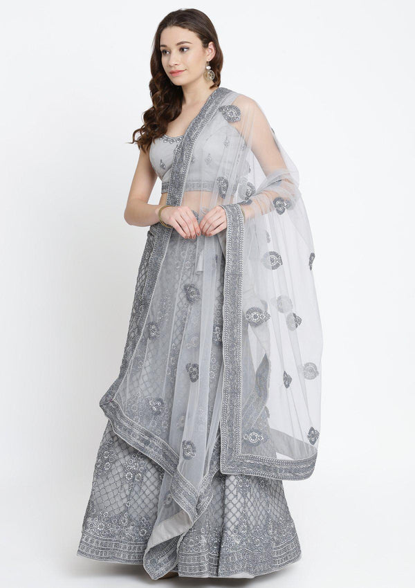 Light Grey Threadwork Net Designer Lehenga