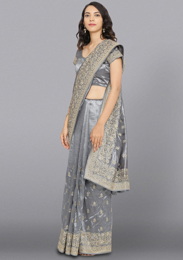 Light Grey Zariwork Rawsilk Designer Saree