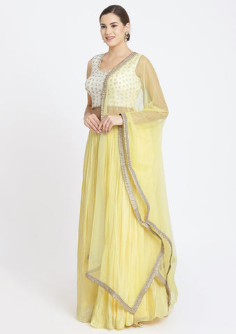 Yellow and Off-White Mirrorwork Satin Designer Lehenga-Koskii